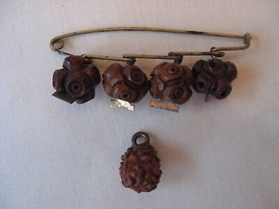Antique Chinese Wood Seed Pit Nut Hand Carved Bead Pin 4 Dangle Beads plus 1 Old
