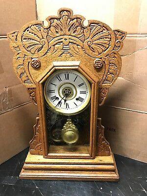 Antique Vintage New Haven 8 Day Key Wind Mantle Clock - Parts Or Repair