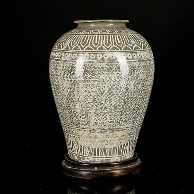 Chinese Antique Song Dynasty Yue Stoneware Jar With Wood Stand UB1483CA