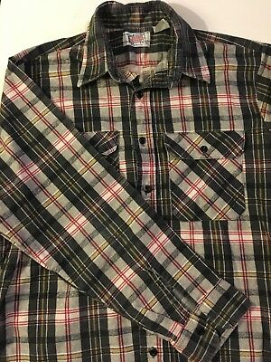 Vintage 80s Gray Red Flannel Shirt Made In The USA Grunge Skate M L