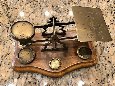 Antique Wood & Brass Postal Scale (3 Weights)