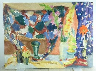 VINTAGE ABSTRACT BOTANICAL OIL PAINTING Mid Century Modern Signed Nakamura
