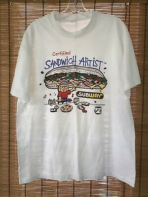 Vintage 1994 Subway Sandwich T Shirt Artist 100% Authentic