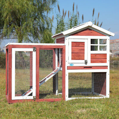 "48"" Wooden Habitat Rabbit Hutch Cage House Animal Pet Small Chicken Coop Outdoor"