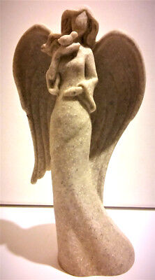 Antique Vintage Art Deco Christmas Angel Woman Bird Statue Sculpture Gift Stone