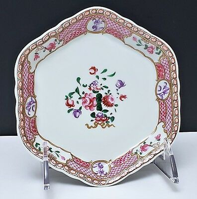 19th c Antique Chinese Export Famille Rose Porcelain Teapot Stand Tray
