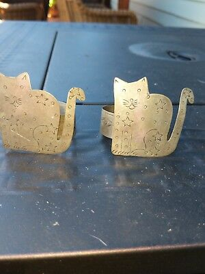 Two Napkin Ring Holder Cats Silver