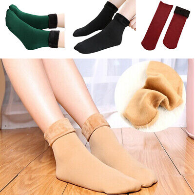 Women's Solid Winter Thick Warm Fleece Lined Thermal Stretchy Socks Elastic Fit