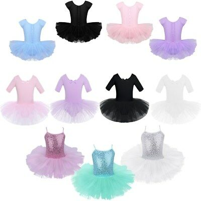 Kid Girls Tutu Ballet Dance Dress Swan Ballerina Leotard Mesh Dancewear Costume