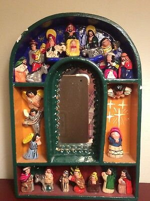 Wooden Shadow Box Mexican Folk Art Pottery Nativity Mirror Peruvian Retablo 8""
