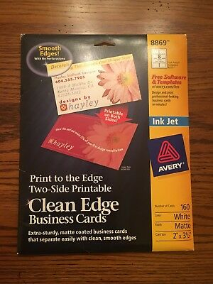 112 Avery 8869 8373 Clean Edge Business Cars Ink Jet White 2 x 3 1/2 in 2-sided