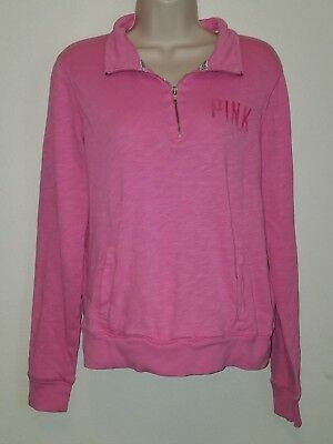 PINK pullover sweat shirt Women's size S pink color 1/4 zip