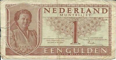 NETHERLANDS 1 Gulden, 1949, P-,72