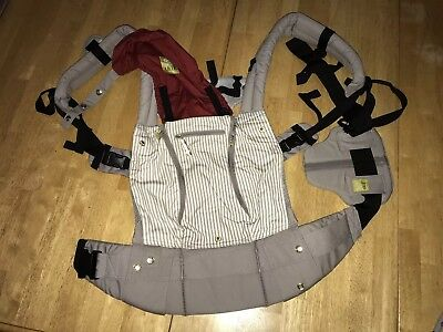 Lillebaby All Seasons Carrier Euc Grey And Red Stripes
