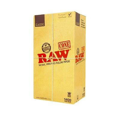 RAW Pre-Rolled CONE 1400 PACK KING SIZE unbleached natural organic