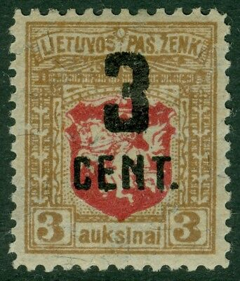 EDW1949SELL : LITHUANIA 1922 Sc #121 Very Fine, Mint OG. Scarce stamp. Cat $175.