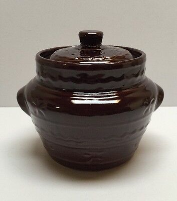 Vintage Marcrest Ovenproof Stoneware Bean Pot Daisy And Dot Design Brown