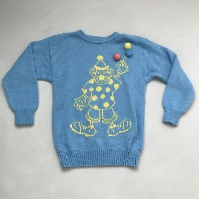 Vintage Girl Sweater Kids Clown Blue Knit Birthday Party Balloons Size 4/5 Vtg