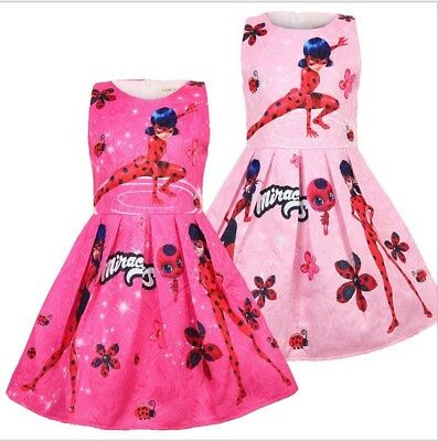 2019 New Kids Girls miraculous Ladybug Sleeveless Party Holiday Birthday Dress