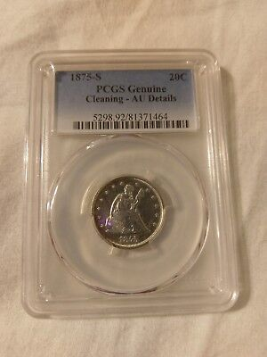 1875-S Seated Liberty Silver Twenty Cent Piece PCGS AU Details Cleaning