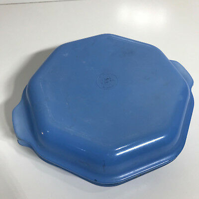 PYREX AGEE Vintage BLUE Glass Octagonal Casserole Lid Lidded Covered GC COC-112