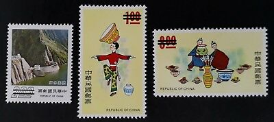 1964-74 Taiwan lot of 3 Shihmen & Folklore SPECIMEN stamps MUH