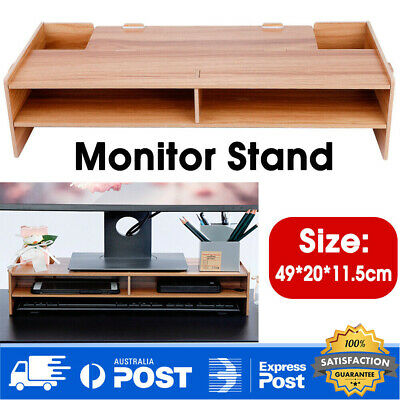 2Layer Wooden Monitor Stand LCD Computer Monitor Laptop Riser Heighten Bracket