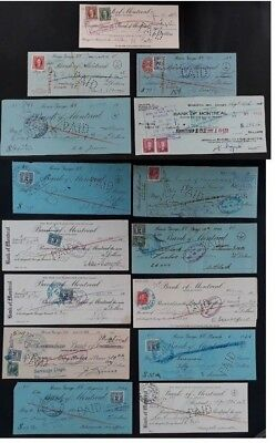 1926-1960 Canada lot of 15 Bank Cheques with Excise stamps Affixed Used
