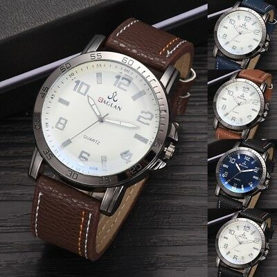 Casual Metal Case Watch Men's Military Leather Sport Date wrist fashion Watches