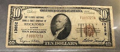1929 United States Of America Ten Dollar Bill *rockford, Illinois*  Very Rare!