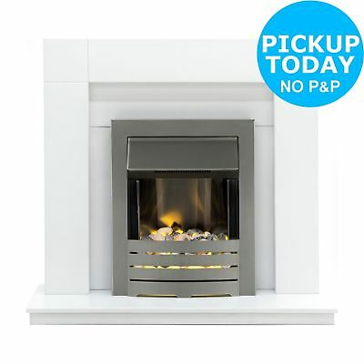 Adam Wyoming 2kW Flame Effect Freestanding Electric Fire Suite - White
