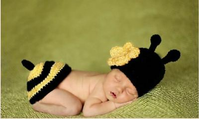Newborn Crochet Bumble Bee Photography Props Crochet Costume Outfit