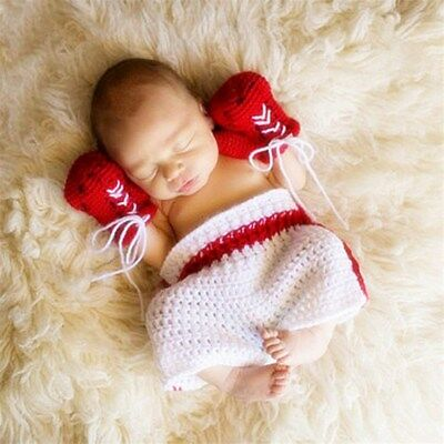 Newborn Baby Crochet Boxing Outfit Baby boxer set Photo Photography Props