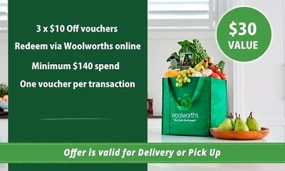 3 x Woolworths $10 vouchers. Save $30 on your online shopping! Emailed Coupons