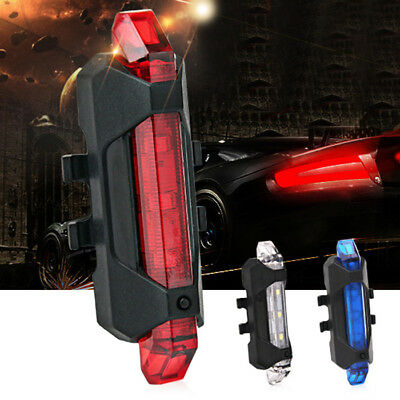 LED Water Resistant USB Rechargeable Cycling Bike Tail Light 4 Lighting Modes