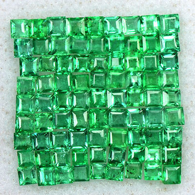 2.26 Cts Natural 1.5 upto 2 mm Emerald Top Loose Gemstone Square Cut Lot Zambia
