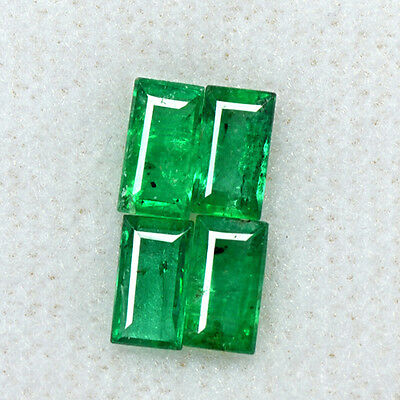 1.46 Cts Natural Emerald Top Loose Gemstone 6x3 mm Baguette Cut 4 Pcs Lot Zambia