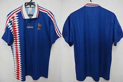 timeless design eb049 22c20 1994-1995 FRANCE LES Bleus Soccer Jersey Shirt Maillot Home Adidas World  Cup L