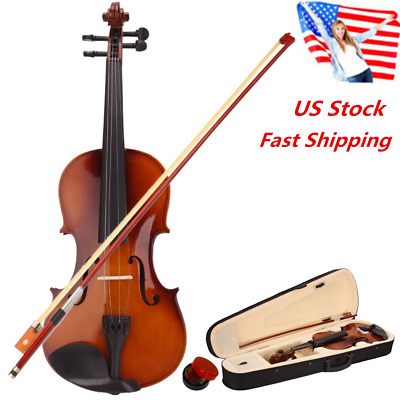 US New Natural Color 4/4 Full Size Acoustic Violin Fiddle with Case Bow Rosin