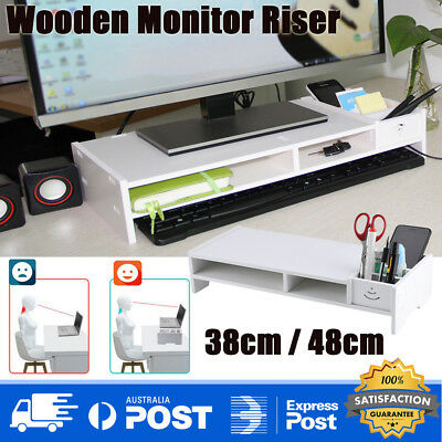 Wooden Desktop Stand Mount Monitor Laptop Riser Organizer TV Screen Stand +Shelf