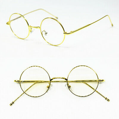 aa55cca8f8d17 Vintage Small 40mm Round Gold eyeglass frames Rx able Unisex Full Rim  Glasses