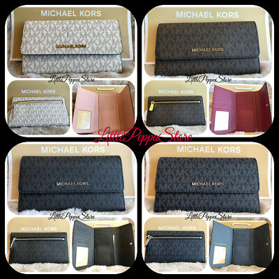 Nwt Michael Kors Jet Set Travel Mk Logo Pvc Large Trifold Wallet In Various