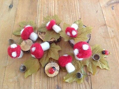 Autumnal/Christmas display, really charming, needle felted toadstools X 7