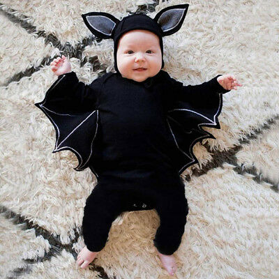 Infant Baby Boys Girls Bat Cosplay Costume Romper Hat Outfits Clothes Black AU
