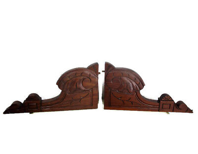 Couple Corbels Hand Carved Wood Pediment Over Door Ornate Finial Architectural