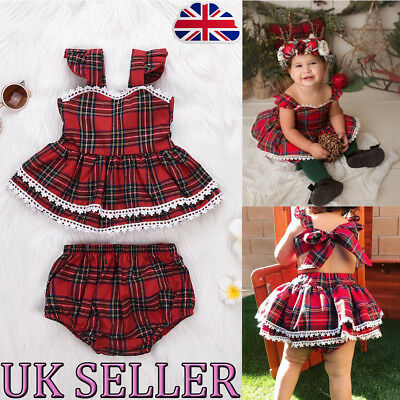 UK Infant Baby Girls Checked Tartan Backless Braces Skirt Short Pants Outfit NEW