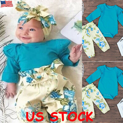 Newborn Baby Girl Boy Romper Tops Jumpsuit Pants Headband Outfit Clothes Set