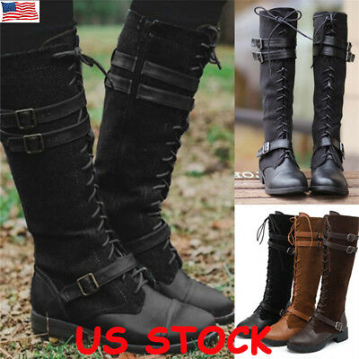 0389babeeae US Womens Knee High Lace Up Buckle Flat Military Combat Boots PU-Leather  Riding