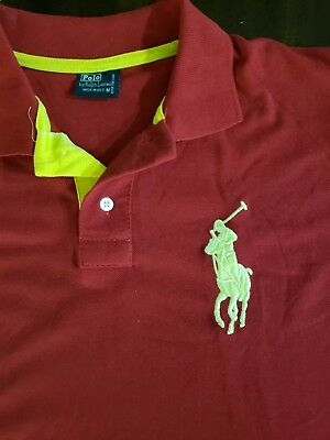 Polo By Ralph Lauren Rugby Shirt Medium Red  #3 Cotton Big Pony Logo