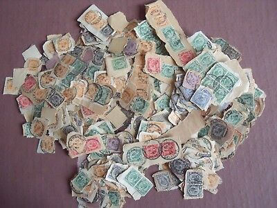 HUNDREDS OF USED STAMPS ON PIECES, KENYA, UGANDA ETC EARLY 1930s HUGE COLLECTION